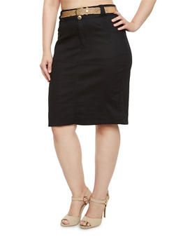 Plus Size Stretch Pencil Skirt with Belt - 9452064461179