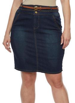 Plus Size 3 Button Denim Pencil Skirt - 9452064461667