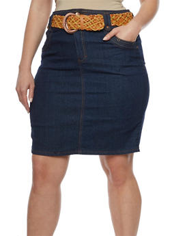 Plus Size Belted Denim Pencil Skirt - 9452064461719