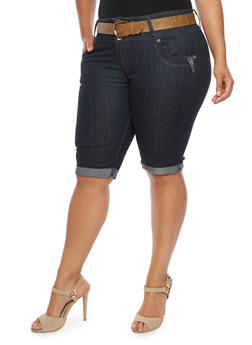 Plus Size Belted Denim Bermuda Shorts - 9452064461726
