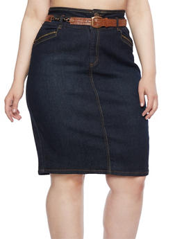 Plus Size Denim Skirt with Embroidered Accents and Removable Belt - 9452064462165