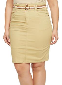 Plus Size Twill Pencil Skirt with Belt - KHAKI - 9452064463529