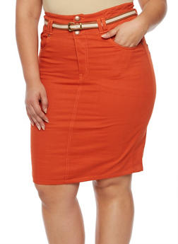 Plus Size Twill Pencil Skirt with Belt - 9452064463529