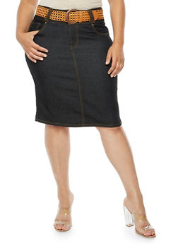 Plus Size Denim Pencil Skirt with Belt - 9452064464495
