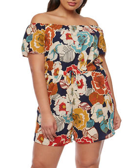 Plus Size Off the Shoulder Floral Romper - 9453020626658