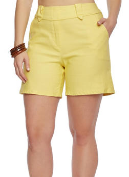 Plus Size Solid Shorts - 9454020626317