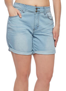 Plus Size Denim Shorts with Rolled Cuffs - 9454041759605