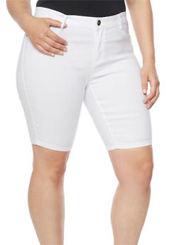 Plus Size White Denim Bermuda Shorts - 9454061650184