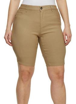 Plus Size Khaki Bermuda Shorts - 9454061651803