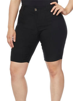 Plus Size Black Denim Bermuda Shorts - 9454061658018