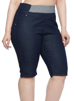 Plus Size Denim Shorts with Striped Elastic Waistbands - 9454064460146