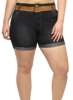 Plus Size Belted Denim Bermuda Shorts - 9454064461688