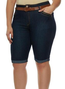 Plus Size Belted Denim Bermuda Shorts - 9454064462168