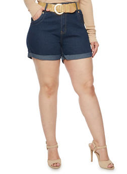 Plus Size Cuffed Denim Shorts with Belt - 9454064463305