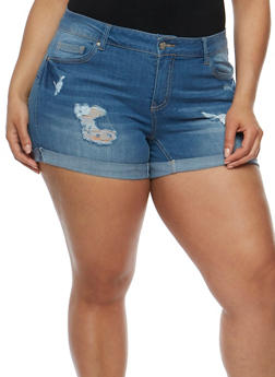 Plus Size WAX Distressed Denim Push Up Shorts - 9454071619005