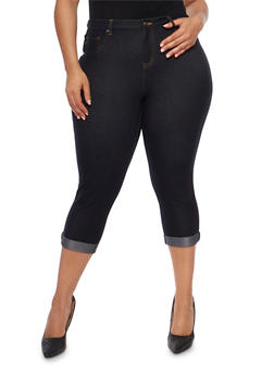 Plus Size Cuffed Denim Knit Capri Pants - 9455056570016