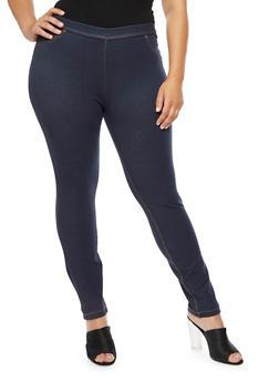 Plus Size Denim Knit Leggings - 9455062708812