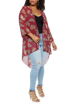 Plus Size Floral High Low Duster - 9470020625618