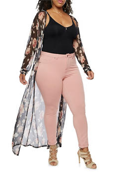 Plus Size Long Sleeve Floral Mesh Maxi Duster - 9470020625698