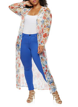 Plus Size Long Sleeve Floral Mesh Maxi Duster - IVORY - 9470020625698