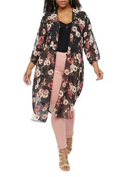 Plus Size Long Printed Kimono - 9470020626227