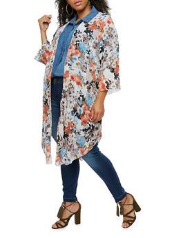 Plus Size Long Printed Kimono - IVORY - 9470020626227