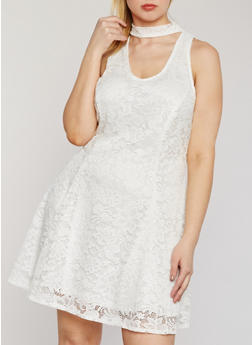 Plus Size Sleeveless Lace Keyhole Choker Dress - IVORY - 9475020622156