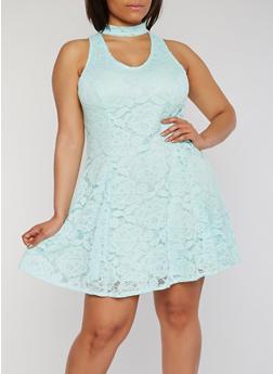 Plus Size Sleeveless Lace Keyhole Choker Dress - 9475020622156
