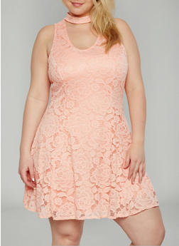 Plus Size Sleeveless Lace Keyhole Choker Dress - 9475020622156
