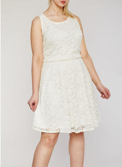Plus Size Sleeveless Lace Midi Skater Dress - IVORY - 9475020623156