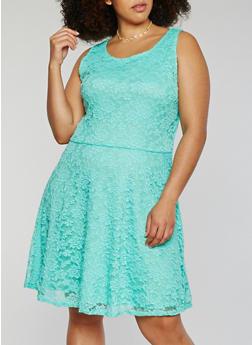 Plus Size Sleeveless Lace Midi Skater Dress - 9475020623156