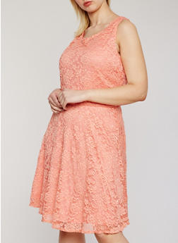Plus Size Sleeveless Lace Midi Skater Dress - 9475020623156