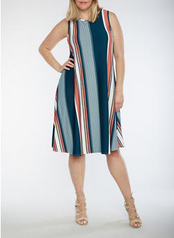 Plus Size Sleeveless Vertical Stripe Swing Dress - 9475020624529