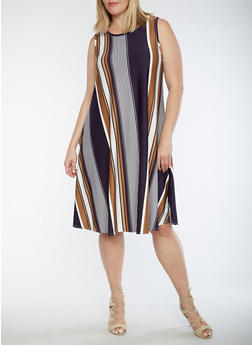 Plus Size Sleeveless Vertical Stripe Swing Dress - 9475020624529