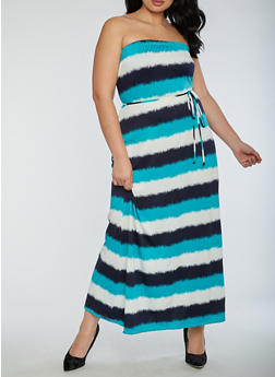 Plus Size Strapless Maxi Dress - 9475020624562