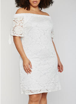 Plus Size Off the Shoulder Lace Peasant Dress - WHITE - 9475020625656