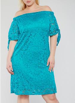 Plus Size Off the Shoulder Lace Peasant Dress - 9475020625656
