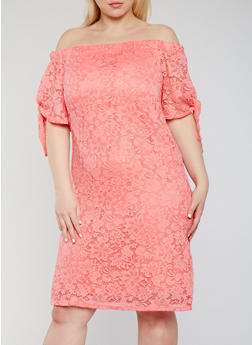 Plus Size Off the Shoulder Lace Peasant Dress - 9475020625656