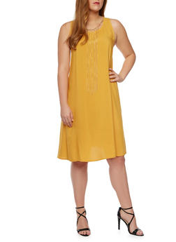 Plus Size Shift Dress with Removable Necklace - MUSTARD - 9475020626452