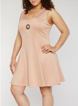 Plus Size Skater Dress with Necklace - 9475020626572