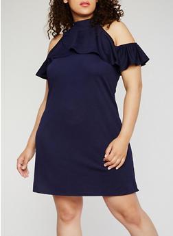 Plus Size Cold Shoulder Mock Neck Dress - 9475020626680