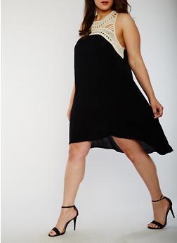 Plus Size Trapeze Dress with Crochet Yoke - 9475030844851