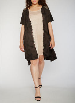 Plus Size Tie Dye High Low Trapeze Dress - 9475030846778