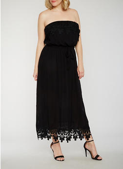 Plus Size Strapless Crochet Top Maxi Dress - 9475051068249