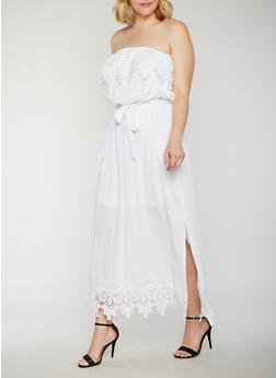 Plus Size Strapless Crochet Top Maxi Dress - 9475051068249