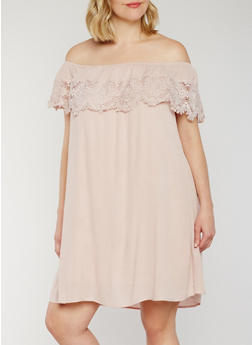 Plus Size Crochet Trimmed Off the Shoulder Peasant Dress - MAUVE - 9475051068311