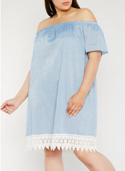Plus Size Chambray Off the Shoulder Dress with Crochet Trim - 9475054264866