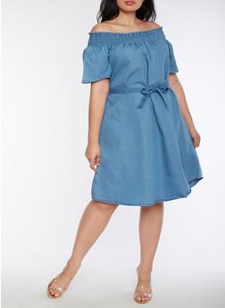 Plus Size Smocked Off the Shoulder Denim Dress - 9475056124098