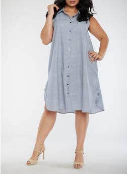 Plus Size Striped Sleeveless Dress - 9475056124207