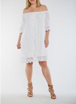 Plus Size Off the Shoulder Gauze Knit Dress with Crochet Trim - WHITE - 9475056124230